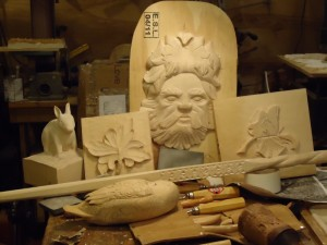 student carvings in progress